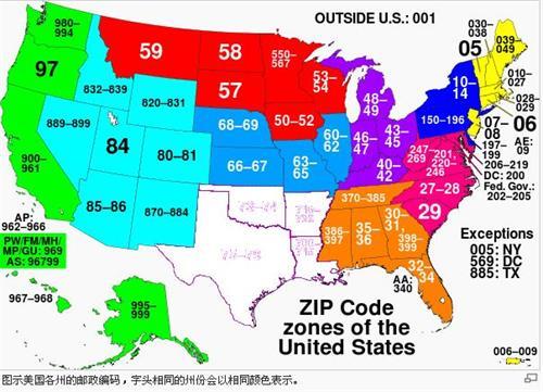 美国各州主要城市邮政编码